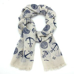 "Navy Blue & Ecru ""Anchors Away"" Scarf"